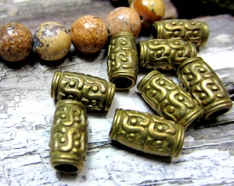 30 Antique bronze beads tube beads tribal boho hippie jewelry supply large hole metal beads HP5-(Z3)