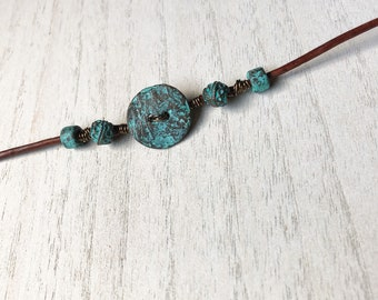 Wire Wrapped Leather Bracelet