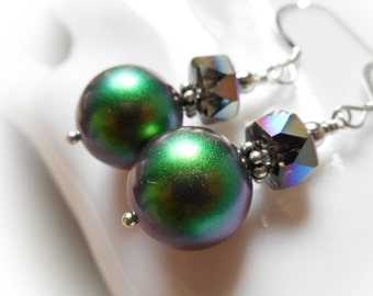 Silver earrings with Swarovski crystal pearls scarabaeus purple green sterling silver 925 earrings beetle color long dangle womens earrings