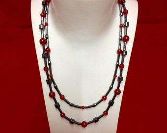 Hematite & Carnelian necklace