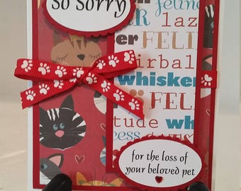 Pet Sympathy Card for the  loss of a Cat