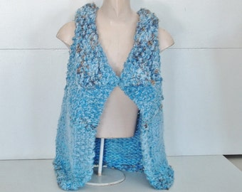 Chunky knit vest wrap sweater for extra small, small medium women in pale/mid blues with sepia accents