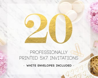 20 PRINTED INVITATIONS including white envelopes