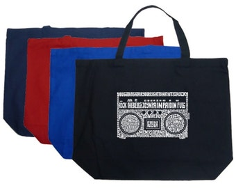 Large Tote Bag - Created using some of the Greatest Rap Hits of The 1980's