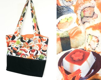 Sushi Tote Bag - Large tote made from Japanese sushi fabric with sturdy canvas bottom and long straps, in orange and black