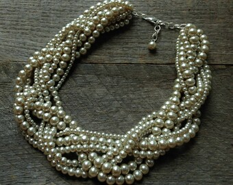Champagne Pearl Statement Necklace, Multi Strand Wedding Necklace, Chunky Braided Necklace on Silver or Gold Chain