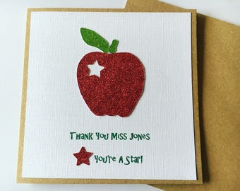Personalised hand made thank you teacher card.