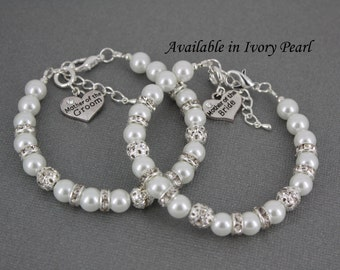 Mother of the Bride Mother of the Groom Pearl Bracelet White Rhinestones Bracelet Bridal Jewelry White Pearl Bracelet