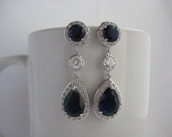 Blue Sapphire Drop Crystal Earrings Bridal Cubic Zirconia Jewelry Blue Wedding Teardrop Rhodium Drop Earrings Sapphire Bridal Earrings