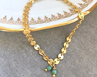 Simple gold dot bracelet,gold charm bracelet,minimalist bracelet,stackable bracelet,boho bracelet simple gold bracelet,modern bracelet.