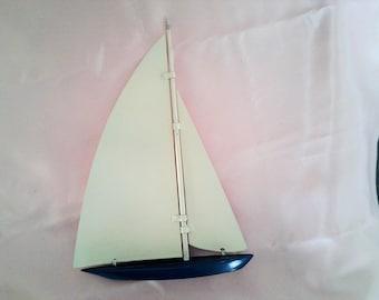 Vintage Metal Yacht Sailing Boat Figurine