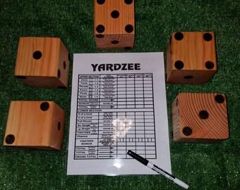 Yard Dice Yardzee Game 5 Custom Made Dice and Scorecard