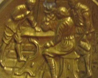 Brass Wall Plaque Dutch Scene