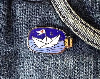 Set Sail - Origami Paper Boat in a Bottle Enamel Pin