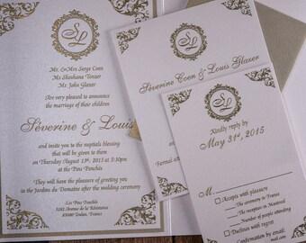 Damask Wedding Invitation, Wedding Invitation, Elegant Wedding Invitations, Formal invitations, Gold Invitation,Gold Wedding Invitations