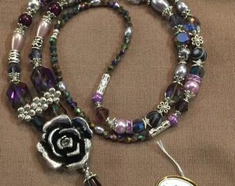 Beaded Lanyard ID Holder Shades of Purple Crystals on Slv. L-903