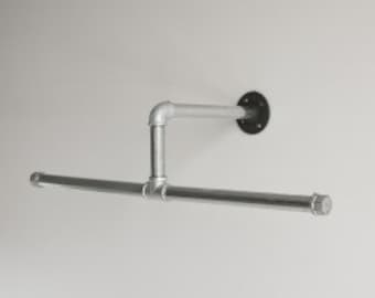 Closet Hanger Rod, Industrial Pipe, Silver Galvanized or all Black Pipe, Industrial Pipe Towel/ Clothing Rack