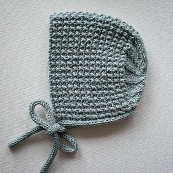 Inga Bonnet in Duck Egg Merino/Silk/Cashmere Wool - Sizes newborn to 24 months - Pre-Order