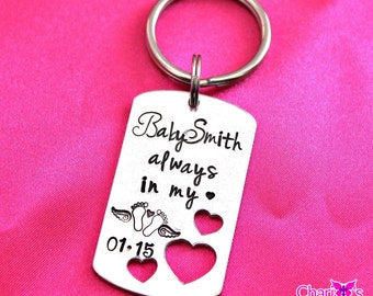 Personalized Always in My Heart hand stamped infant loss keychain