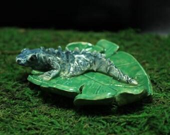 Blue Iguana trinket or ring dish handmade pottery