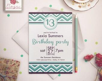 Turquoise Chevron - Teen Birthday Invitation
