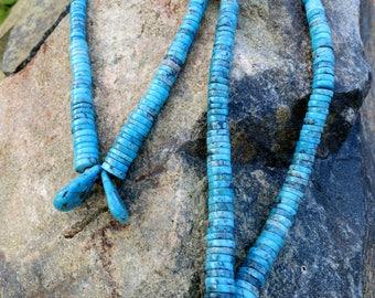 "VINTAGE TURQUOISE JACLA, Morenci Turquoise, Earrings 16"" Long"