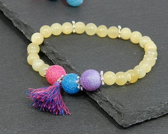 Boho-Bracelet made of orange calcite & snake agate