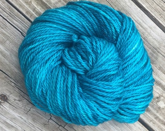 Hand Dyed Bulky Yarn Mermaid's Curse Turquoise yarn 100% superwash merino wool 106 yards blue green teal bulky weight yarn chunky yarn swm