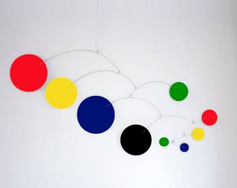 MOD MOBILE in Multi Bold Colors - 3 SIZES Available - Groovy Retro Mid Century Inspired Hanging Modern Art - Home Decor Mobiles