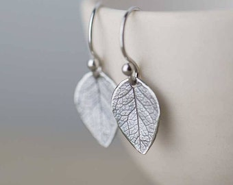 Sterling Silver Leaf Earrings | Unique Gift for Mom | Mother's Day Gift | Silver Dangle Earrings for Women | Handmade Jewelry by Burnish
