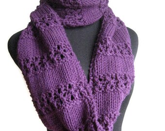 Cowl Scarf, Purple Lace Stripped Infinity Scarf, Purple Knit Circle Scarf, Vegan Knit Scarf, Knitwear, Amethyst Scarf,  Infinity
