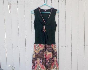 Retro Boho Chic Black Paisley Recycled Stretchy Knit Dress szS
