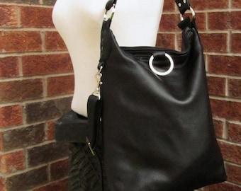 Black Leather Bag - 3 way bag - Messenger - Fold Over Bag