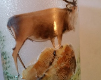 """Vintage German Wine Glass Hand Painted Stag on Frosted Glass Souvenir of the City of Swinemunde Germany on The Baltic 4"""""""