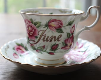 Vintage Golden Crown E And R Bone China Cup & Saucer Rose Bouquet Of The Month June