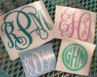 Monogram Vinyl Decal Buy 1 Get 1 Free Plus Yeti Corkcicle Monogram Car Monogram Cell Phone Monogram Laptop Monogram FREE SHIPPING