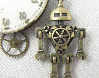 1 or 2, Steampunk, Robot, Steampunk Robot, Robot Charm, Geekery, Science Fiction, Mechanical Robot, Tin Man, SFF049BZ
