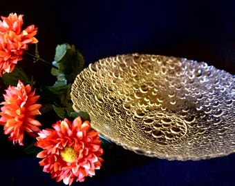 Raindrop Glass; Swedish Style Free Form Bowl; Approx.; 8 x 2 Inches