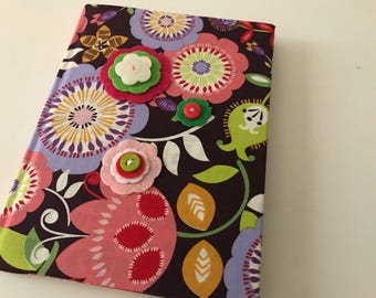 "Chevron Fabric Covered Blank Journal Diary Sketchbook with Felt Flower and Option for Personalized Monogram (small addt'l charge) - 6"" x 8"""