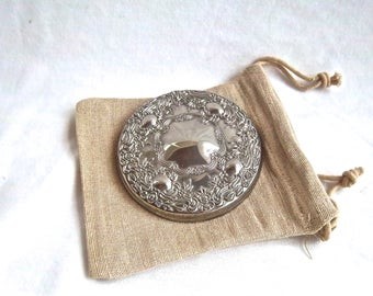 Vintage Silver Plate Purse Carry All Mirror Burlap Cover Bag Vintage Accessary Vintage Gift Set Vintage Pocket Mirror Set Vintage Accessary
