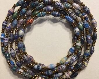 Long, Predominately Blue Recycled Paper Bead Necklace, Handmade in Uganda