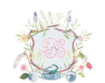 Custom Watercolor Crest / Wedding Crest / Custom Monogram / Custom Wedding Crest / Watercolor Crest Heraldry / Watercolor Crest