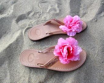 "Greek leather Sandals decorated with Original Swarovski crystals  - Flip Flops - ""Peonies"""