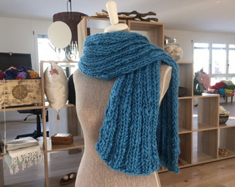 Teal blue scarf in Merino Wool