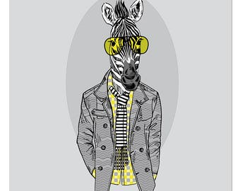 FASHION ANIMALS series/ Zebra Paint By Number kit/ vintage portrait/ Zebra painting/ Zebra poster/ Zebra portrait/ animal portrait/ wall art