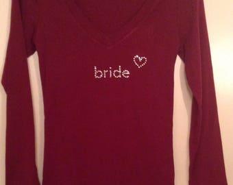 Bride  with heart Rhinestone T- Shirt