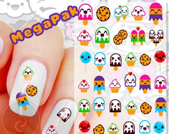 Kawaii Sweets Nail Decals - MegaPak - Ice Cream Cone//Cupcakes//Cookies//Dessert Nail Art