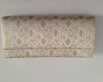 White and Gold Brocade Clutch Evening Bag