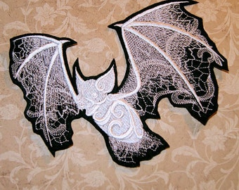 Ghost Bat White Baroque Iron On Embroidery Patch MTCoffinz - Choose Size