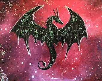 Galaxy dragon 1 original ACEO/ Artists trading card. Mixed media. Free UK delivery.